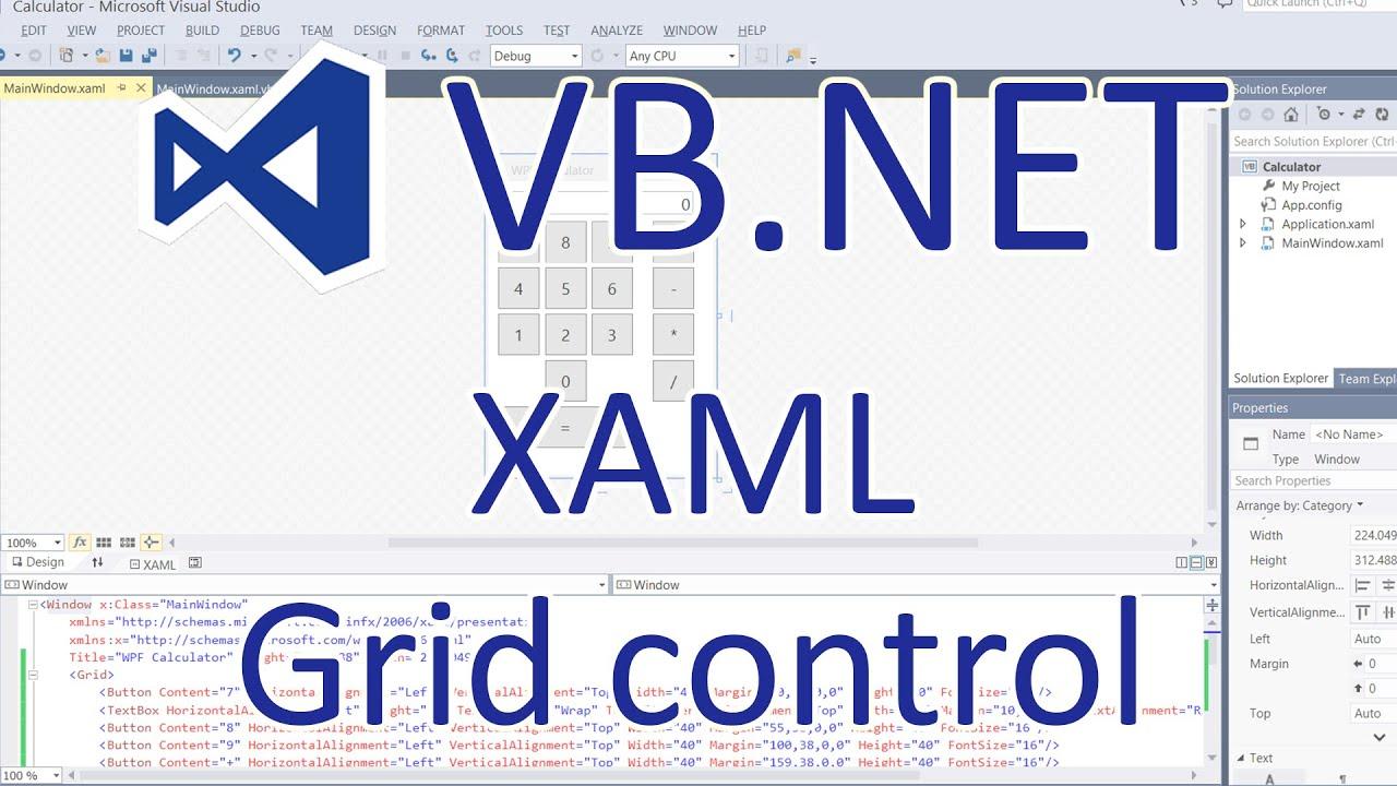 VB NET: WPF Applications - XAML Grid Control (Calculator)