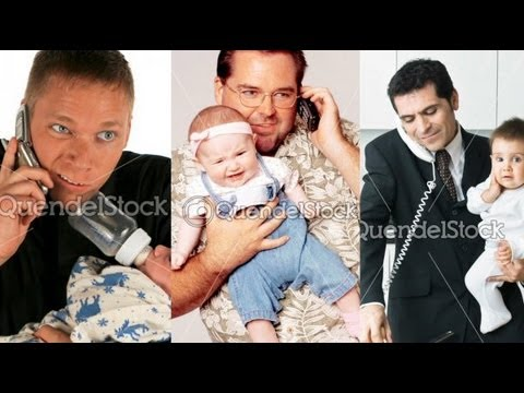 Fun with Stock Photos: Dads on Phones Holding Babies