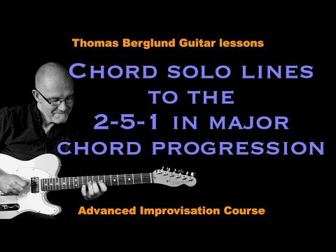 Chord solo playing, part 2 - Lines on 2-5-1 in major - Jazz guitar lesson
