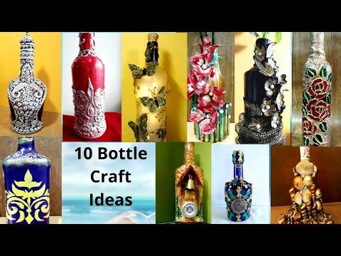 10 Bottle Craft Ideas | Upcycling Glass Bottles | Home Decoration | Bottle Crafts | Sikha Crafts