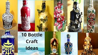 10 Bottle Craft Ideas | Upcycling Glass Bottles | Home Decoration | Bottle Crafts | Sikha Crafts