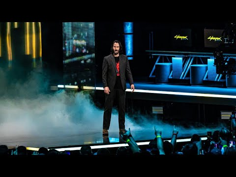 Keanu Reeves Cyberpunk 2077 onstage at E3! Announcement and Crowd Reactions!