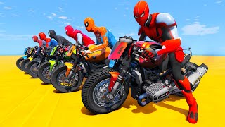 MOTORCYCLES with SPIDER-MAN - EXTREME RAMP PARKOUR Jumps with SUPER MOTOS - GTA V MODS