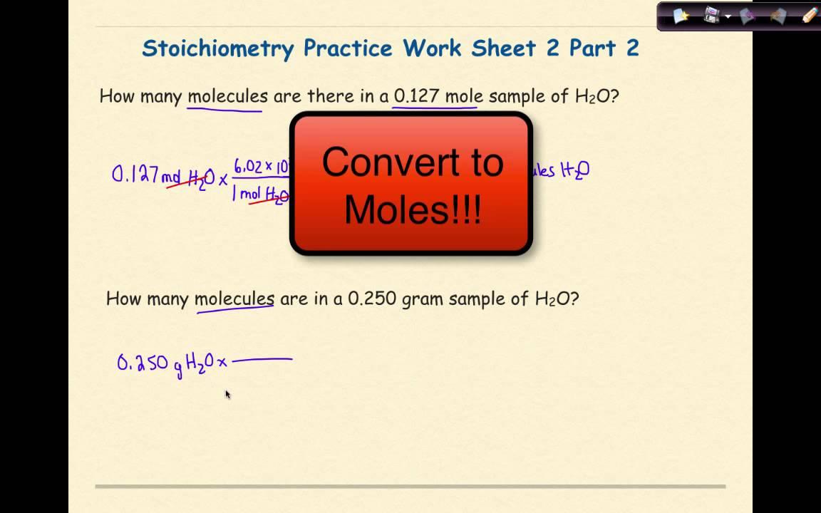 Ap Chemistry Stoichiometry Worksheet 2 Set 2 Youtube