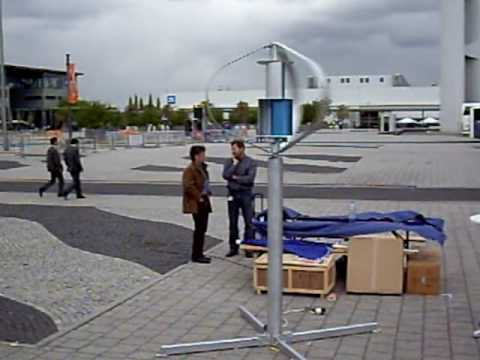 Hi-Energy VAWT outdoor booth in Hannover MESSE 2009 film2