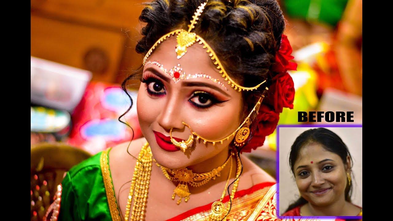 Bridal Makeup Before After Look Bengali Wedding Makeup Youtube