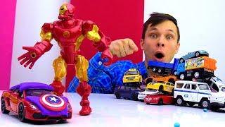 Супергеройский боулинг в мастерской Фёдора! Видео про машинки.