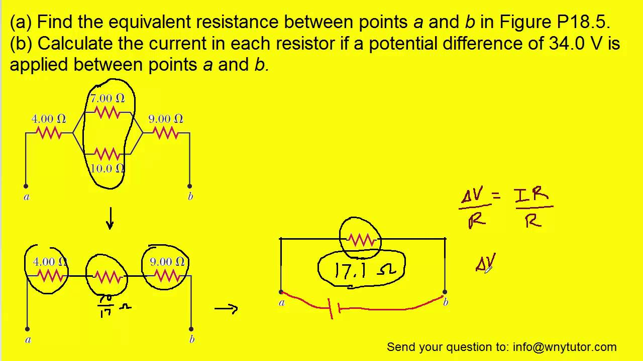 find the equivalent resistance between points a and b youtube