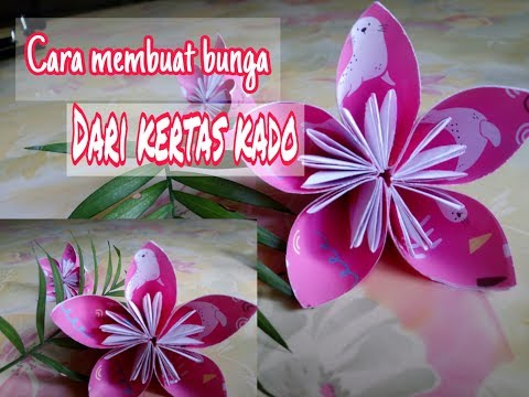 Tutorial membuat bunga cantik dari kertas kado | Easy paper flower