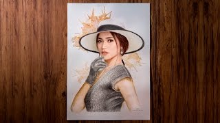 Baixar Jessica Iskandar Mix Media Charcoal Coffee Painting with Signature Drawing