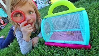 Mystery Bug Catching in the Backyard!! FAMILY POOL PARTY with new toys!