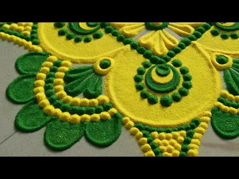 RANGOLI: Attractive Rangoli / muggulu kolam / रंगोली डिज़ाइन / रांगोळी/Satisfying video