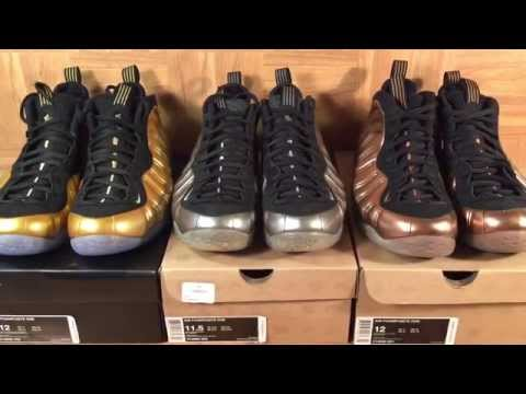 ShoeZeum Metallic Gold, Pewter, and Dirty Copper Nike Air Foamposite Ones