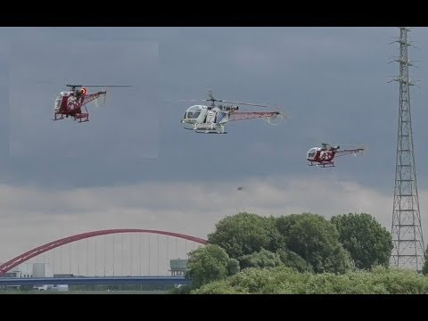 Helidays Duisburg 2018 - 3x Lama SA 315-B in the Air