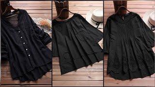 Beautiful Black Colour Dresses Design For Girls#Black Cotton Kurti|#Black #Dresses|Black Suit|
