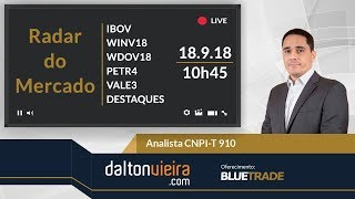 Radar (manhã) - IBOV, WINV18, WDOV18, PETR4, VALE3 e destaques | 18.9.18 #dvradar