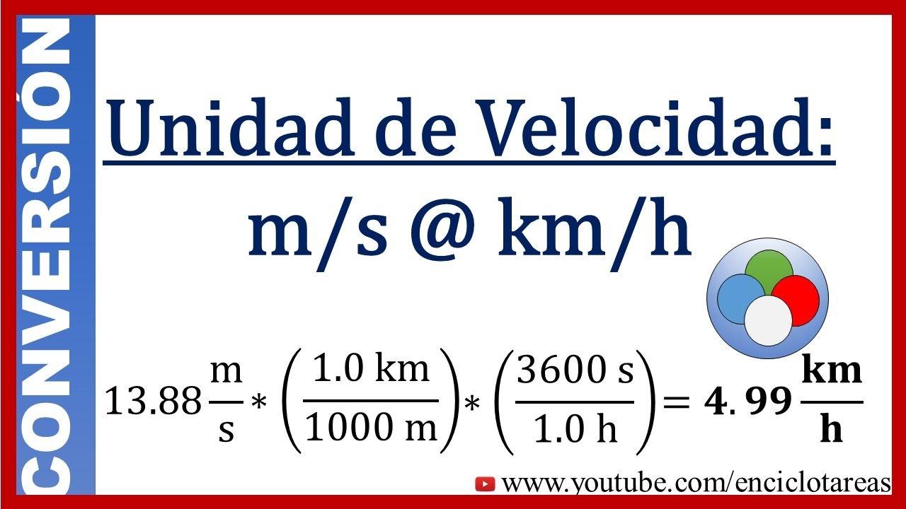 Conversión de m/s a km/h (método fácil) - YouTube