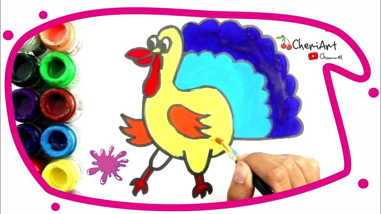 Menggambar Dan Mewarnai Ayam Kalkun Warna Warni Mudah Untuk