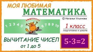Вычитание чисел от 1 до 5. Математика 1 класс. Подготовка к школе.