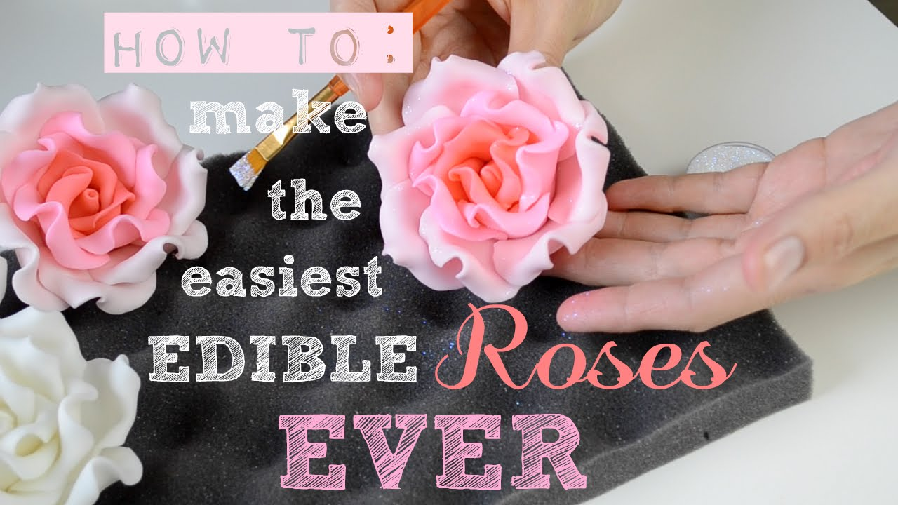 How to make the Easiest Edible Roses EVER! - Bake & Deco ...