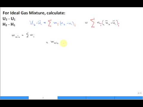 Ideal gas mixture change in internal energy