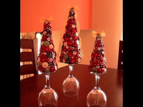 Tutorial centro de mesa rboles de navidad con botones - Adornos para navidad con pinas ...