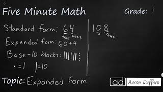 1st Grade Math Expanded Form