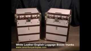 White Leather English Luggage Boxes Trunks