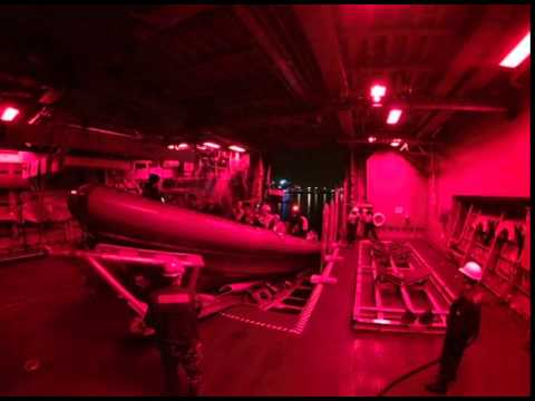 RHIB Boat Launch from USS Fort Worth (HD)