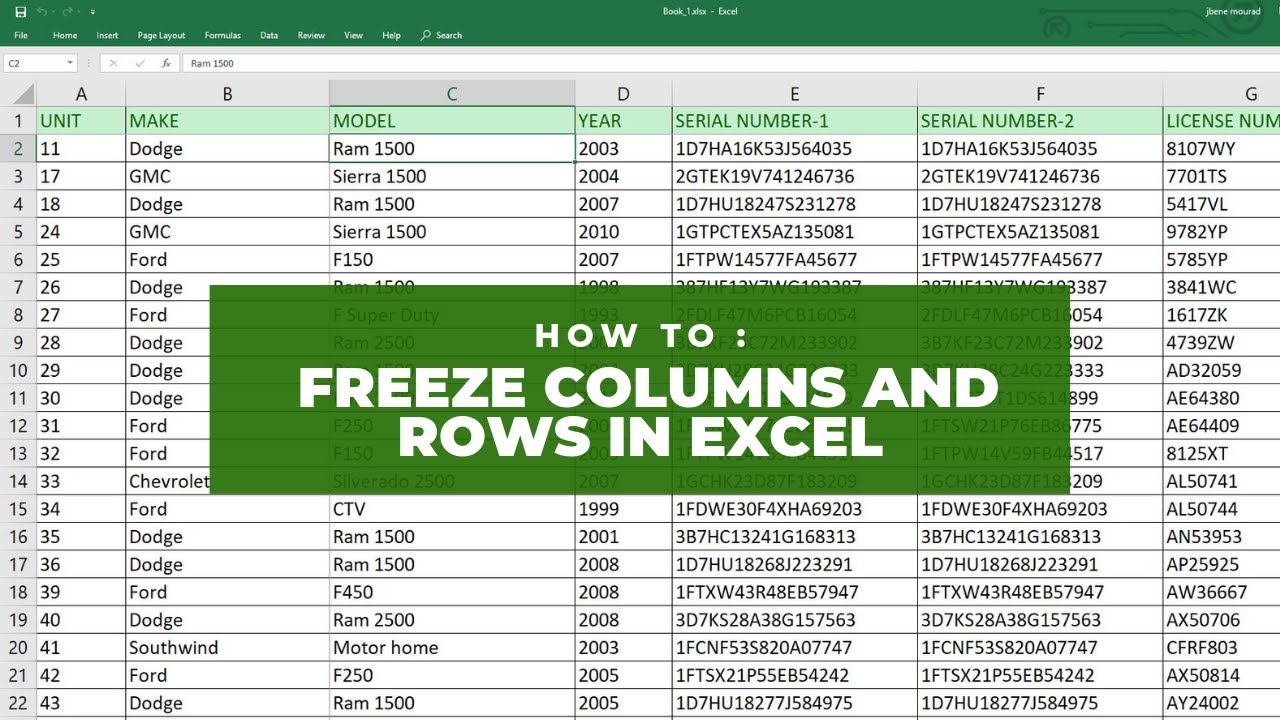 How To : Freeze Columns and Rows in Excel