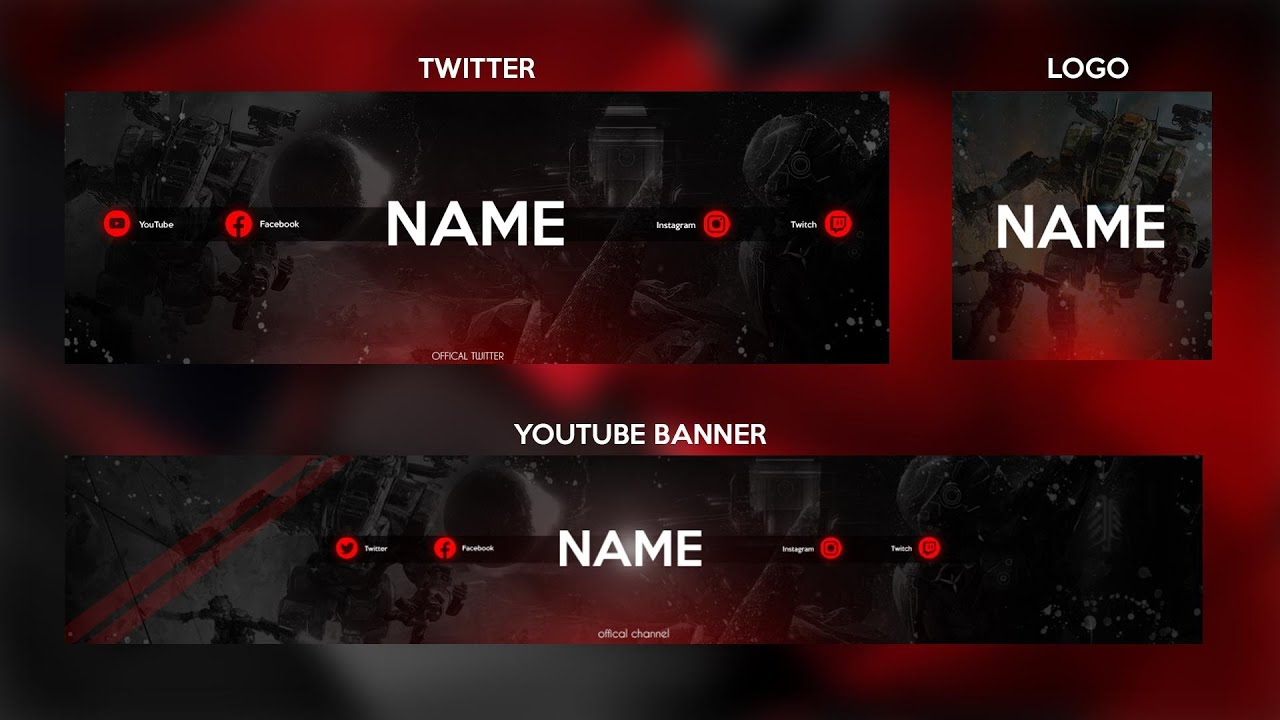 New Red Epic 21 Gaming YouTube Banner Template  Free Download Pertaining To Youtube Banners Template