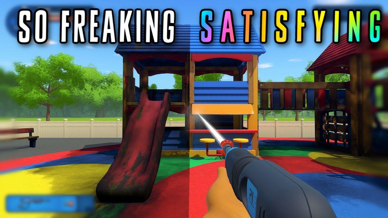 Oddly Satisfying ASMR   Cleaning up a playground 🧼 PowerWash Simulator   Soft spoken