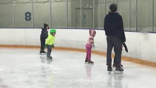 4 years old Amelia ice skating class