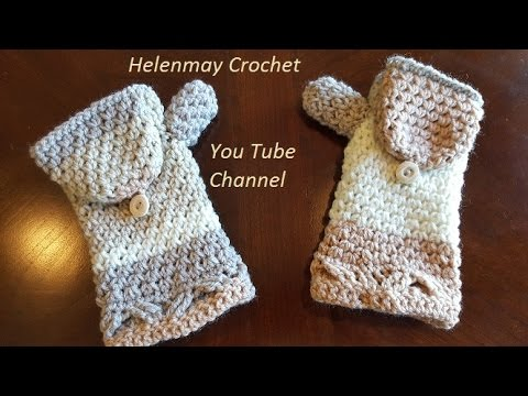 Helenmay Crochet Heavenly Blessing matching flip mittens DIY Tutorial