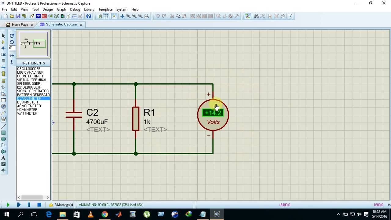 simulation example of buck converter operating on 20khz