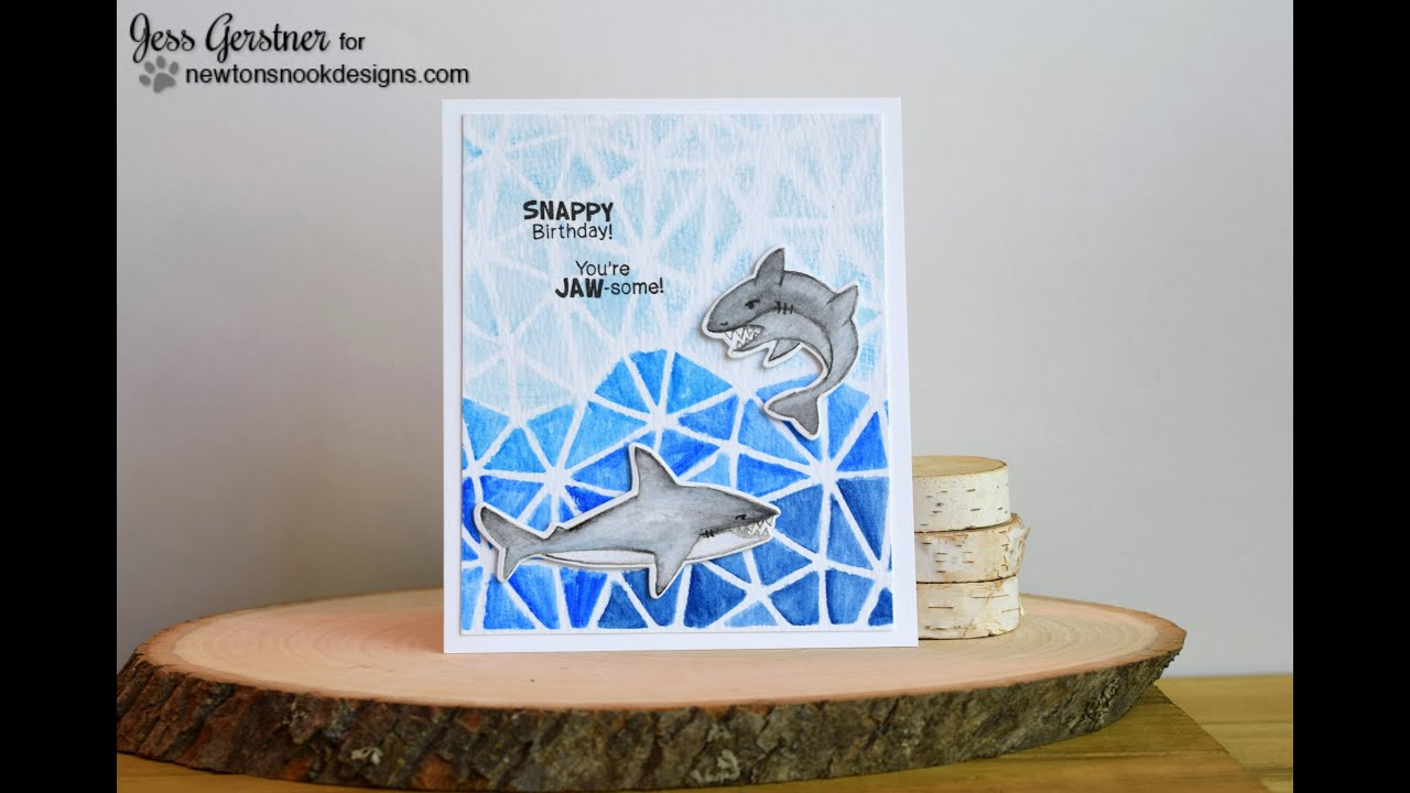 Watercoloring with a stencil for a shark birthday card youtube watercoloring with a stencil for a shark birthday card bookmarktalkfo Gallery