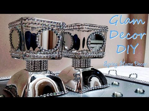 Dollar Tree DIY Glam Bling Mirror Candle Holders