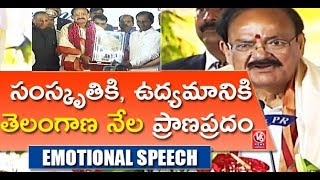 Vice President Venkaiah Naidu Emotional Speech At Telangana Govt Felicitation Program | V6 News