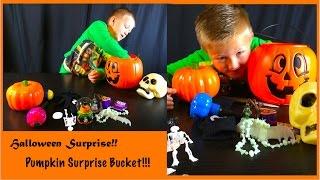 Pumpkin Halloween Bucket SURPRISES!!! Pumpkin, Skeleton, Kids Halloween Surprises!!