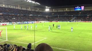 Malmö FF - Juventus Champions League 2014-11-26: Pirlo freekick easily saved by Robin Olsen