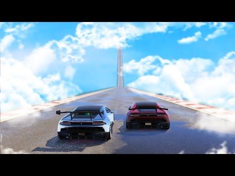 WORLDS LONGEST SKY HIGH RACE! GIRLFRIEND VS BOYFRIEND (GTA 5 Online Funny Moments)