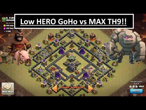 Low Hero GoHo vs MAX TH9. 3 STAR War Attack. Clash of Clans
