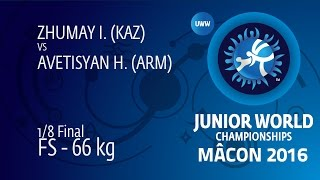 1/8 FS - 66 Kg: I. ZHUMAY (KAZ) Df. H. AVETISYAN (ARM) By TF, 10-0