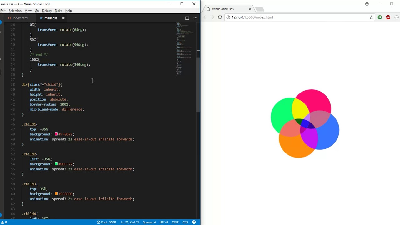 Rotating Circle animation using CSS3 ( using css mix-blend-mode, No JS)