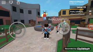 Playing roblox with my friend in knife set