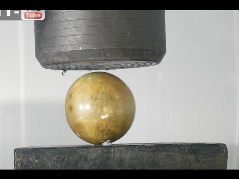 Crushing Marble Rock Ball with Hydraulic Press
