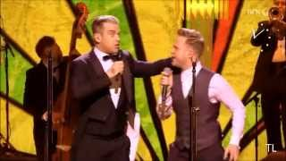 "Robbie Williams & Olly Murs with ""I Wanna Be Like You"" Royal Variety 2013, London"