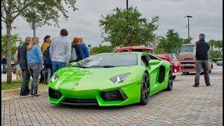 Lamborghini Aventador, Urus, McLaren NONSTOP SUPERCAR TRAFFIC at Cars and Coffee Palm Beach