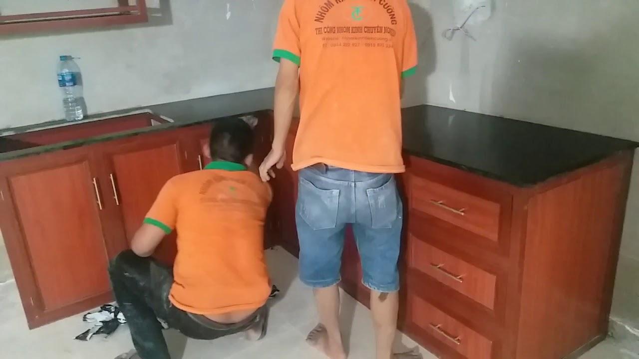 Tủ Bếp Nhôm Kính Vân Giả Vân Gỗ Treo Tường  Cao Cấp Đẹp  Tại Tphcm