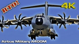 Airbus Military A400M RTO! (Close view)[4K]